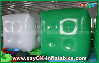 Advertising White Green Inflatable Balloon / Cube Helium Balloon With Logo Print